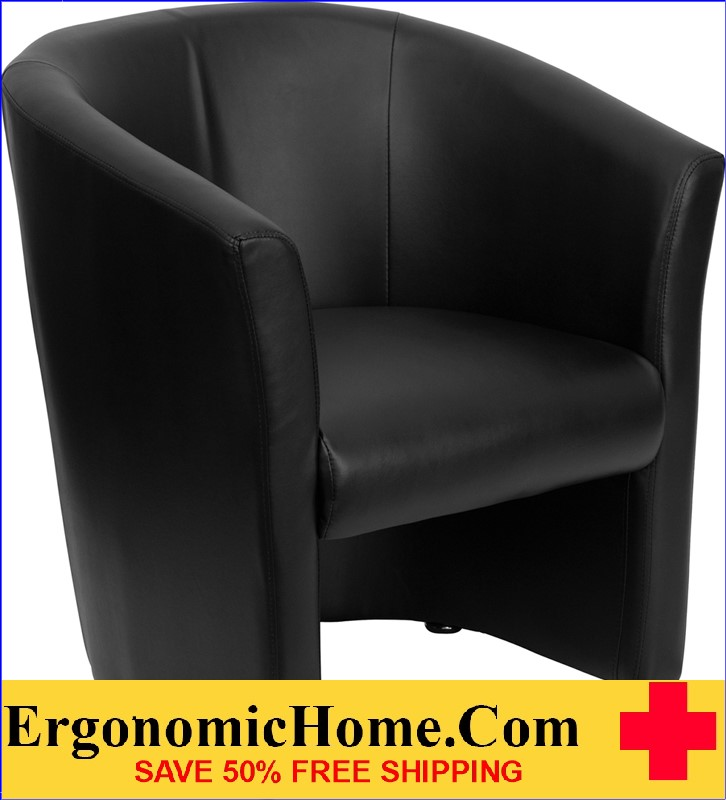 Ergonomic Home Black Leather Barrel-Shaped Guest Chair <b><font color=green>50% Off Read More Below...</font></b>
