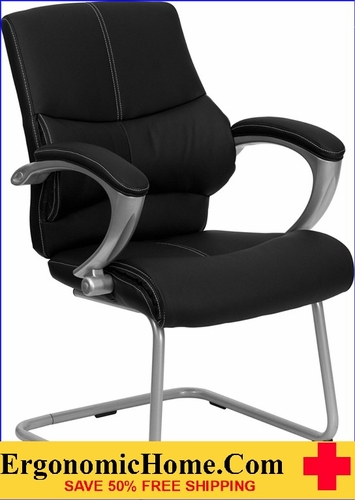 Ergonomic Home Black Leather Executive Side Chair EH-H-9637L-3-SIDE-GG <b><font color=green>50% Off Read More Below...</font></b>