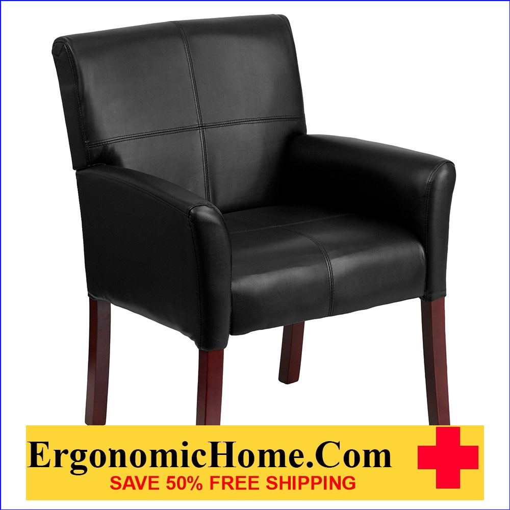 Ergonomic Home Black Leather Executive Side Chair or Reception Chair with Mahogany Legs EH-BT-353-BK-LEA-GG   VIDEO BELOW.