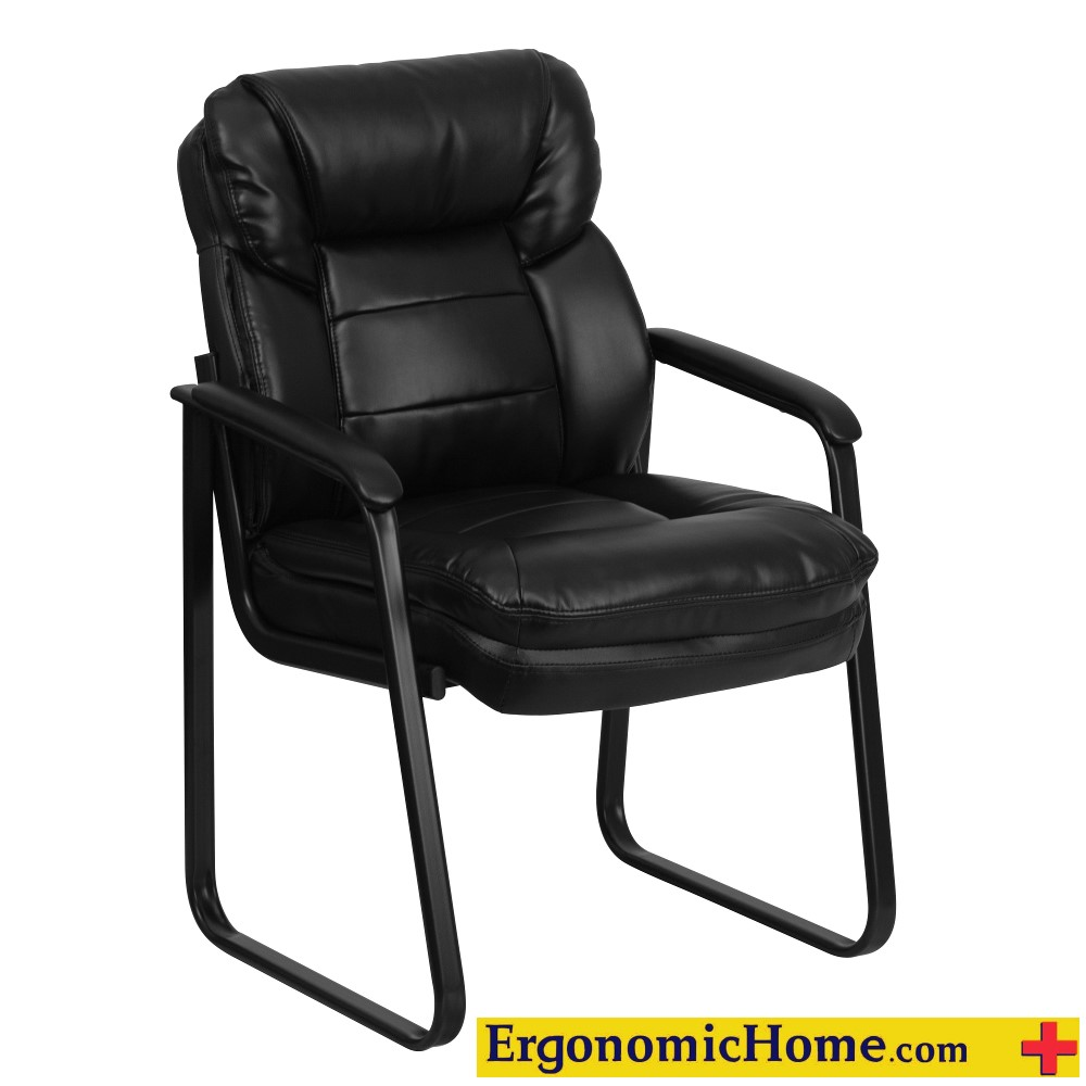 Ergonomic Home Black Leather Executive Side Chair with Sled Base EH-GO-1156-BK-LEA-GG .