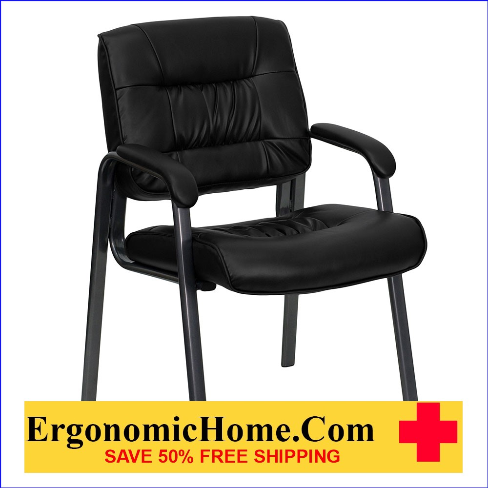 Ergonomic Home Black Leather Executive Side Chair with Titanium Frame Finish EH-BT-1404-BKGY-GG   VIDEO BELOW.