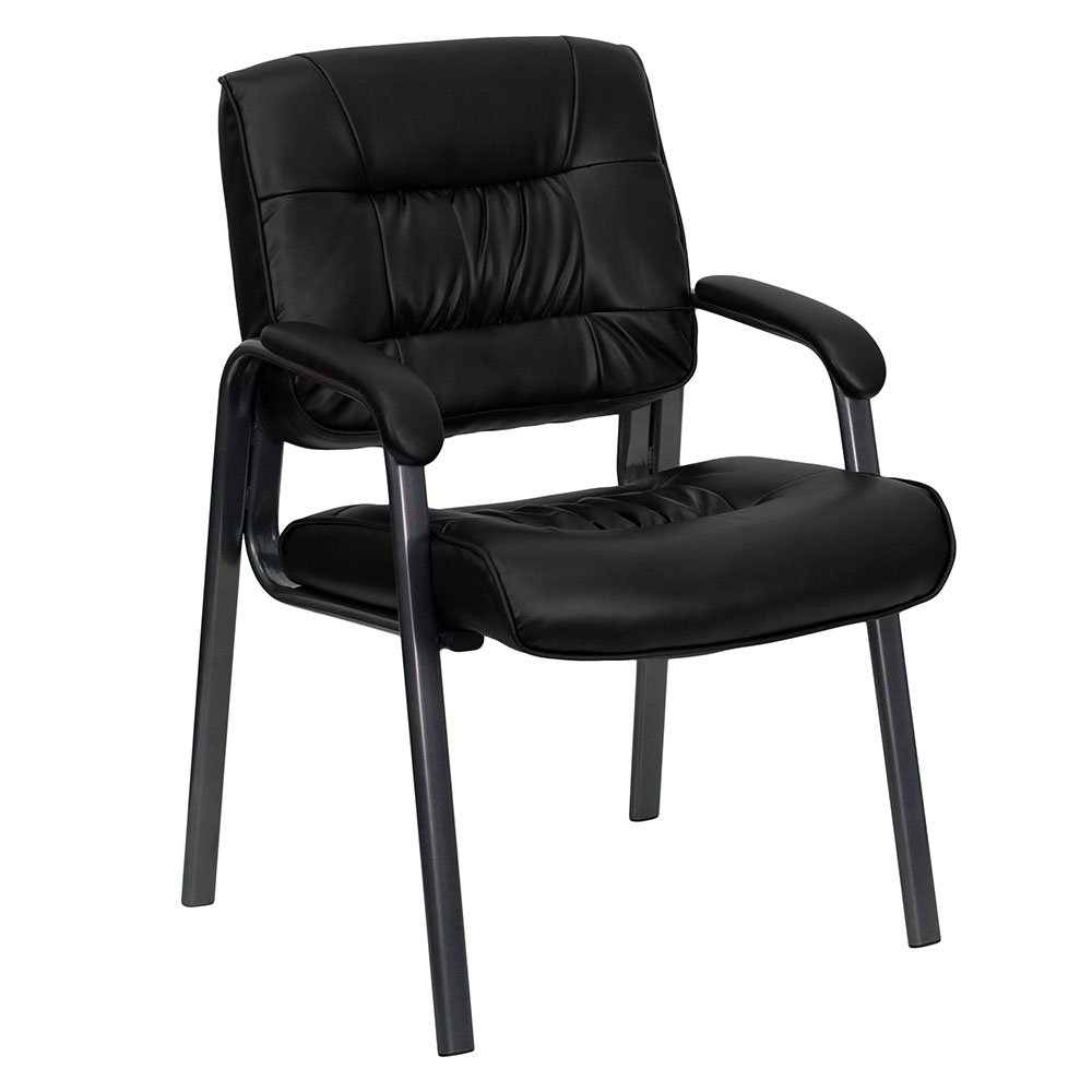 Ergonomic Home Black Leather Executive Side Chair with Titanium Frame Finish EH-BT-1404-BKGY-GG <b><font color=green>50% Off Read More Below...</font></b>