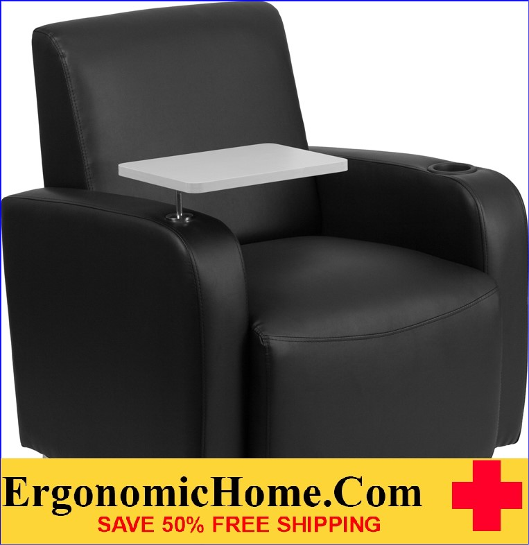 ergonomic home black leather guest chair with tablet arm chrome