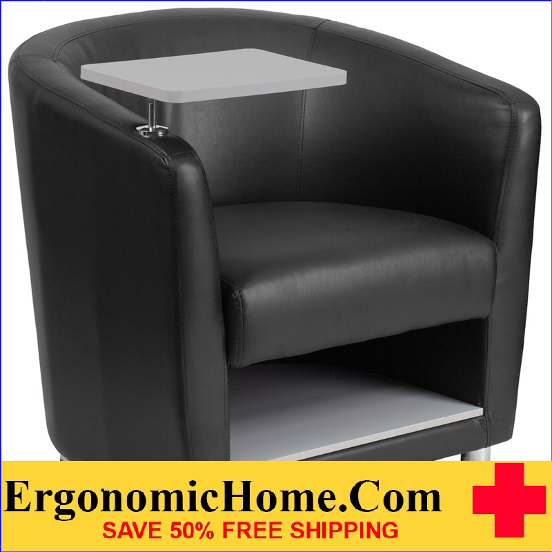 Ergonomic Home Black Leather Guest Chair with Tablet Arm, Chrome Legs and Under Seat Storage <b><font color=green>50% Off Read More Below...</font></b></font></b>