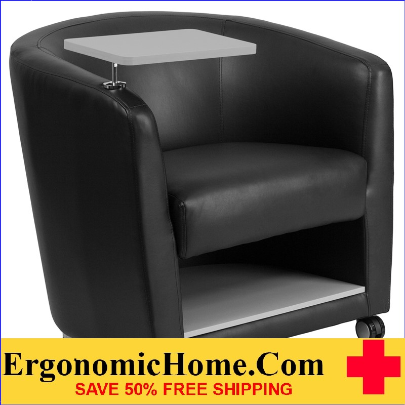 Ergonomic Home Black Leather Guest Chair with Tablet Arm, Front Wheel Casters and Under Seat Storage <b><font color=green>50% Off Read More Below...</font></b></font></b>
