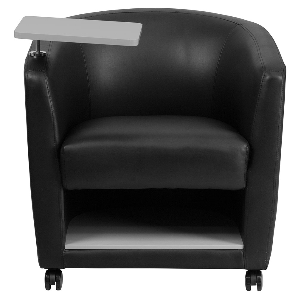 Ergonomic home black leather guest chair with tablet arm for Chair with storage