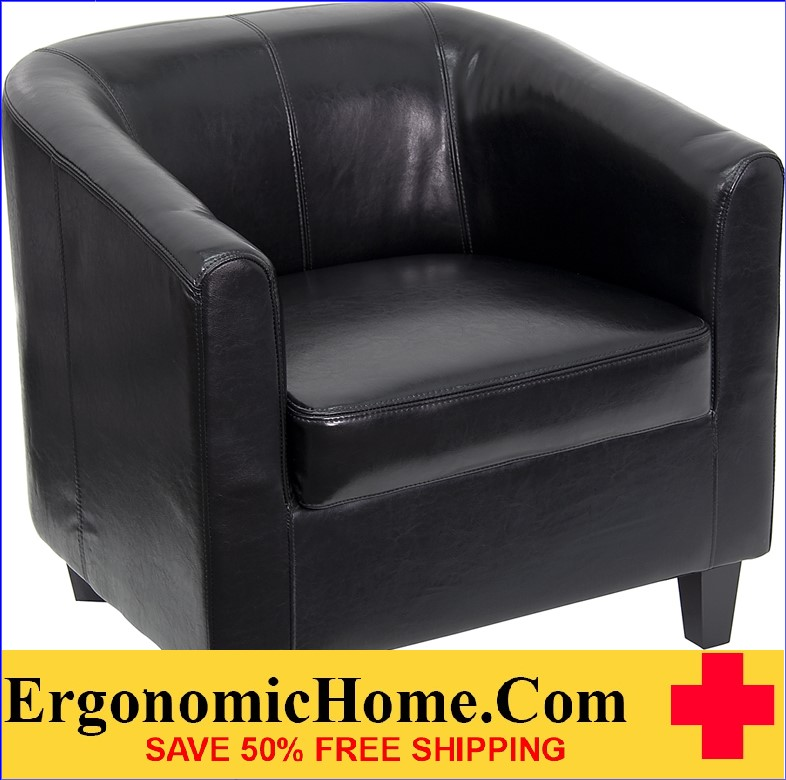 Ergonomic Home Black Leather Office Guest Chair / Reception Chair <b><font color=green>50% Off Read More Below...</font></b>
