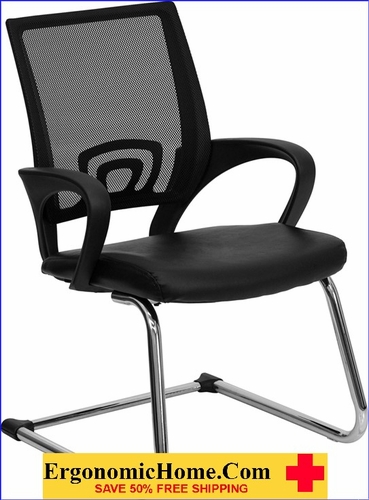Ergonomic Home Black Leather Office Side Chair with Black Mesh Back and Sled Base EH-CP-D119A01-BK-GG <b><font color=green>50% Off Read More Below...</font></b></font></b>