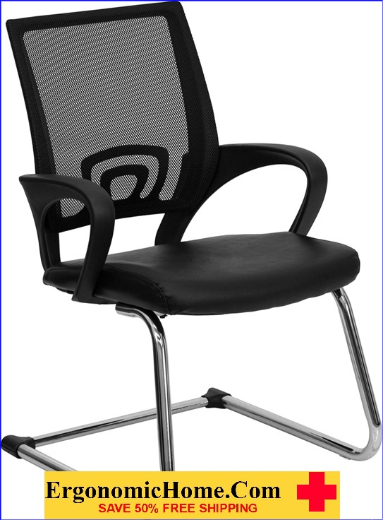 Ergonomic Home Black Leather Office Side Chair with Black Mesh Back and Sled Base EH-CP-D119A01-BK-GG .