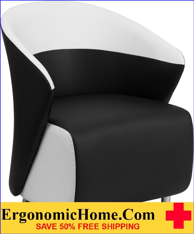Ergonomic Home Black Leather Reception Chair with White Detailing <b><font color=green>50% Off Read More Below...</font></b>