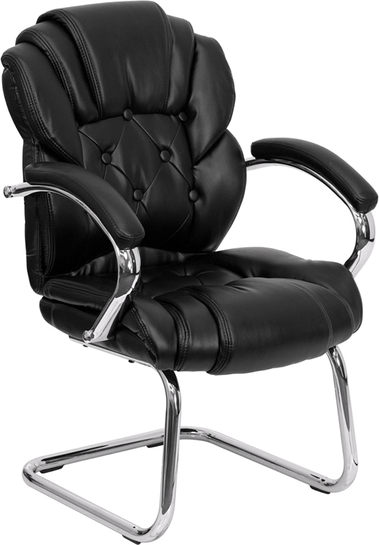 <font color=#c60>Save 50% w/Free Shipping!</font> Black Leather Transitional Side Chair with Padded Arms and Sled Base GO-908V-BK-SIDE-GG <font color=#c60>Read More ... </font>