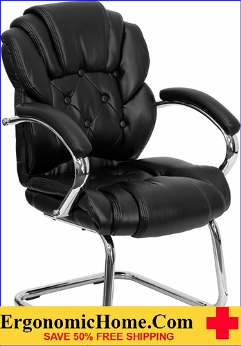 Ergonomic Home Black Leather Transitional Side Chair with Padded Arms and Sled Base EH-GO-908V-BK-SIDE-GG <b><font color=green>50% Off Read More Below...</font></b></font></b>