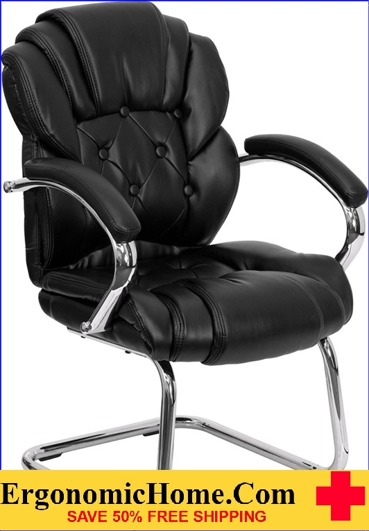 Ergonomic Home Black Leather Transitional Side Chair with Padded Arms and Sled Base EH-GO-908V-BK-SIDE-GG .