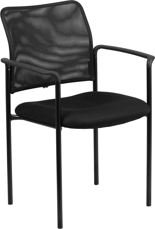 Ergonomic Home Black Mesh Comfortable Stackable Steel Side Chair with Arms EH-GO-516-2-GG <b><font color=green>50% Off Read More Below...</font></b>
