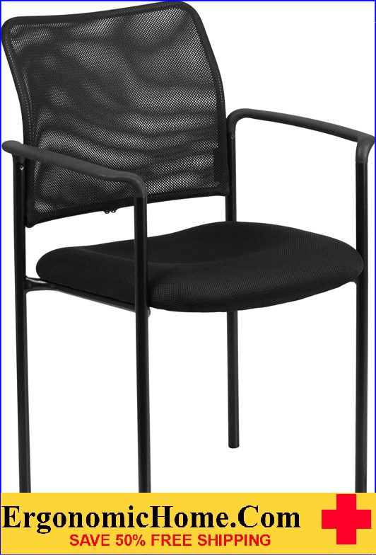 Ergonomic Home Black Mesh Comfortable Stackable Steel Side Chair With Arms  EH GO 516