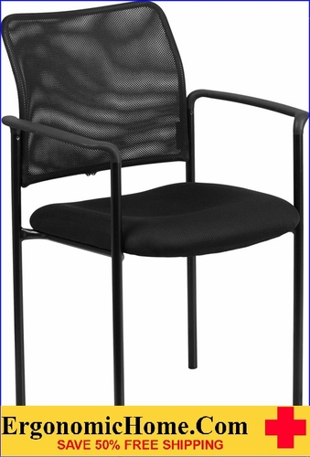 Ergonomic Home Black Mesh Comfortable Stackable Steel Side Chair with Arms EH-GO-516-2-GG <b><font color=green>50% Off Read More Below...</font></b></font></b>