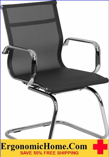 Ergonomic Home Black Mesh Side Chair with Chrome Sled Base <b><font color=green>50% Off Read More Below...</font></b></font></b>