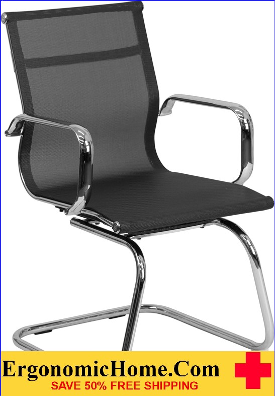 Ergonomic Home Black Mesh Side Chair with Chrome Sled Base <b><font color=green>50% Off Read More Below...</font></b>