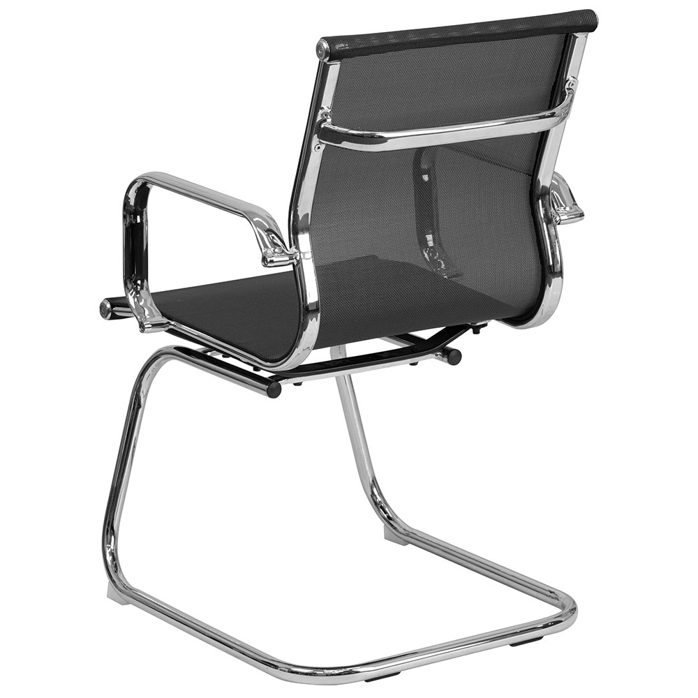 Ergonomic Home Black Mesh Side Chair With Chrome Sled Base