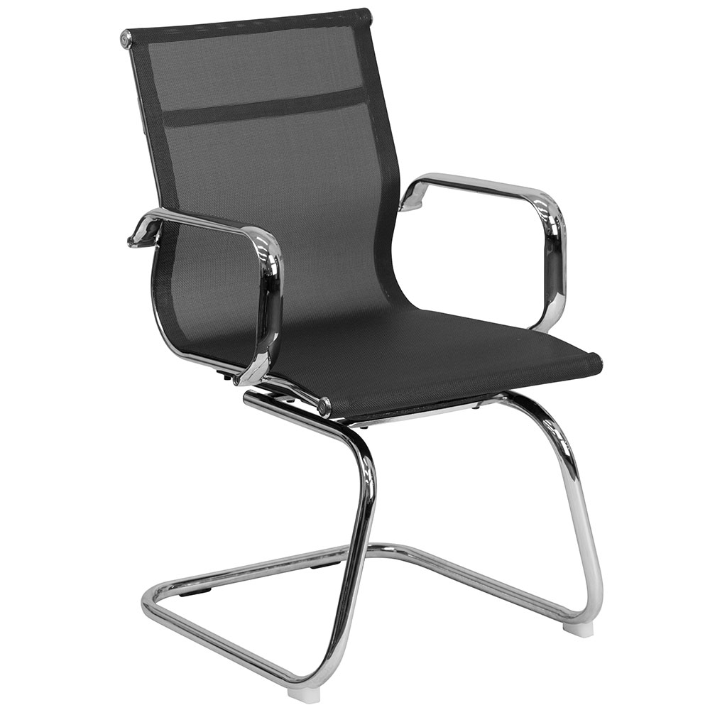 Black Mesh Side Chair with Chrome Sled Base
