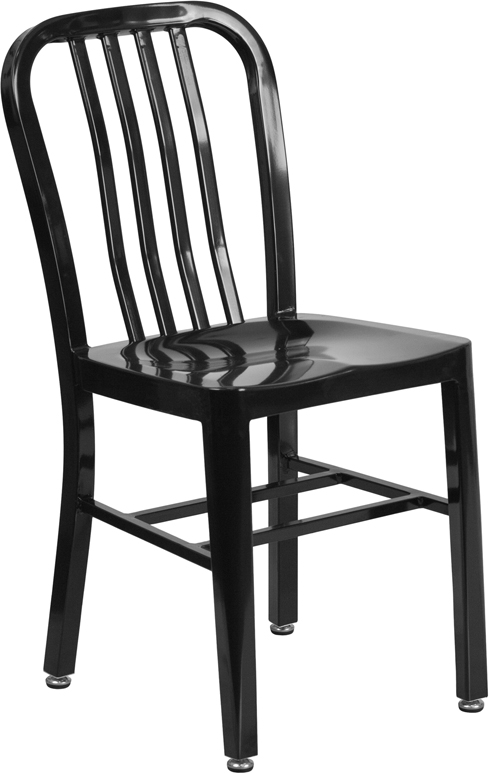 ERGONOMIC HOME Black Metal Indoor-Outdoor Chair
