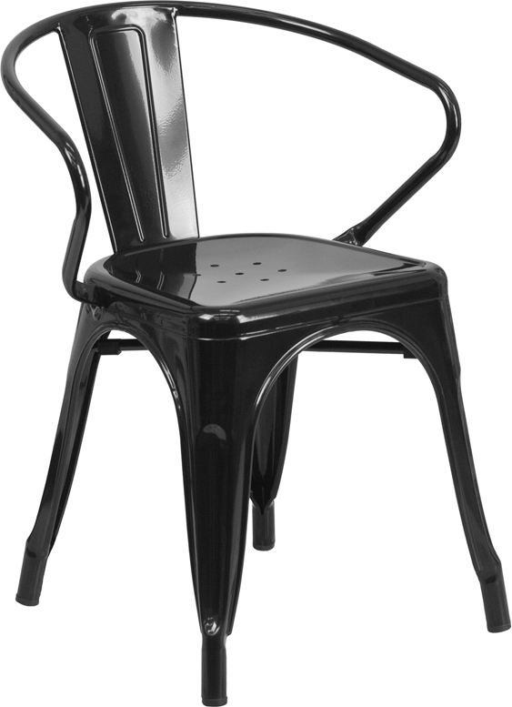 ERGONOMIC HOME Black Metal Indoor-Outdoor Chair with Arms