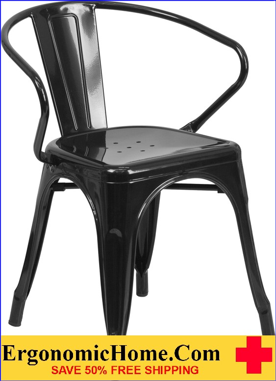 ERGONOMIC HOME Black Metal Indoor-Outdoor Chair with Arms  | <b><font color=green>50% Off Read More Below...</font></b>