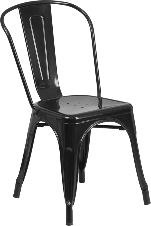 ERGONOMIC HOME Black Metal Indoor-Outdoor Stackable Chair