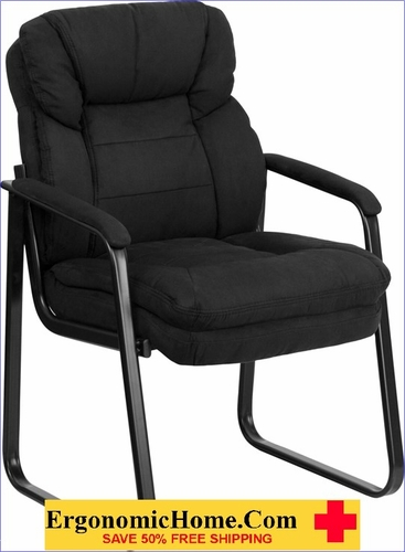 Ergonomic Home Black Microfiber Executive Side Chair with Sled Base EH-GO-1156-BK-GG <b><font color=green>50% Off Read More Below...</font></b></font></b>