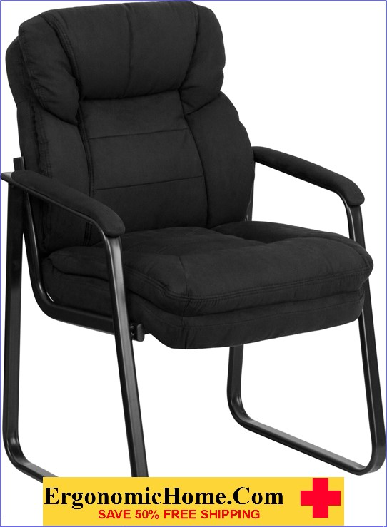 Ergonomic Home Black Microfiber Executive Side Chair with Sled Base EH-GO-1156-BK-GG .