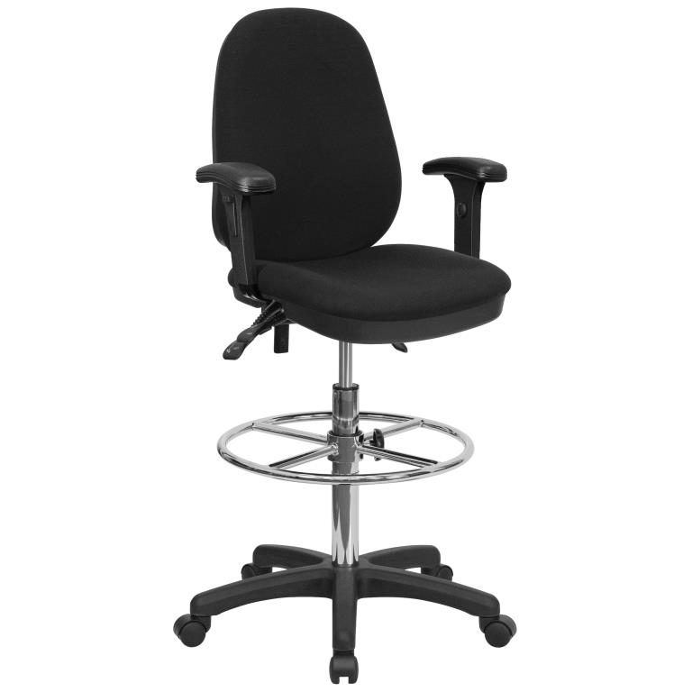 Ergonomic Drafting Chair Black Multi Functional With Adjustable Foot Ring