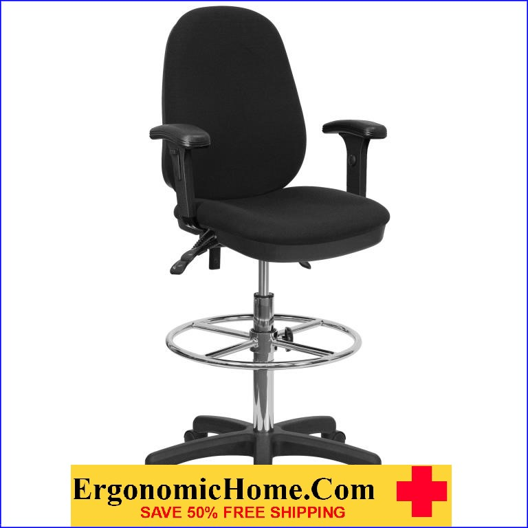 Ergonomic Home Drafting Chair With Adjustable Foot Ring And Height  Adjustable Arms EH KC