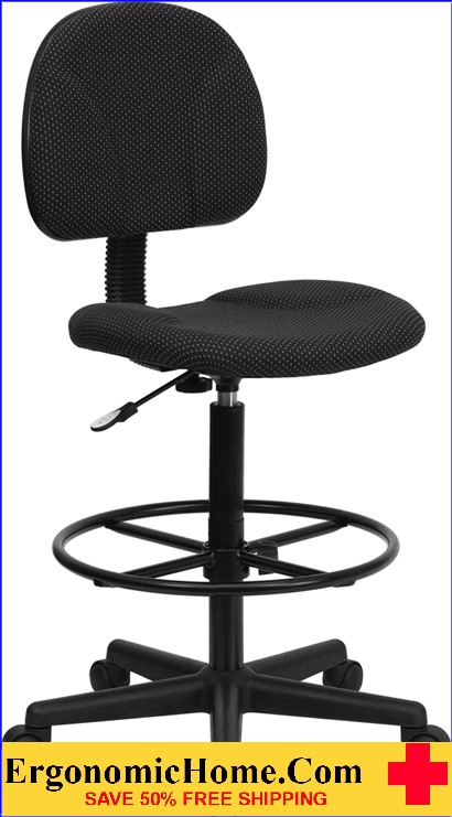 Ergonomic Home Black Patterned Fabric Drafting Chair (Adjustable Range 22.5''-27''H or 26''-30.5''H) EH-BT-659-BLK-GG <b><font color=green>50% Off Read More Below...</font></b>