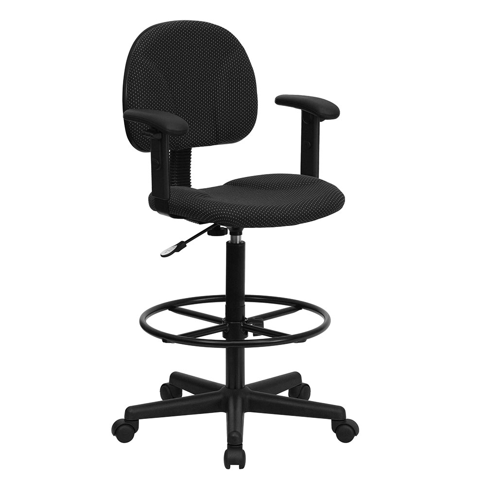 Ergonomic Home Black Patterned Fabric Drafting Chair with Height Adjustable Arms (Adjustable Range 22.5''-27''H or 26''-30.5''H) EH-BT-659-BLK-ARMS-GG <b><font color=green>50% Off Read More Below...</font></b>