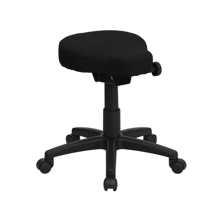 Black Saddle Chair Utility Stool with Wheels | Height and Angle Adjustment
