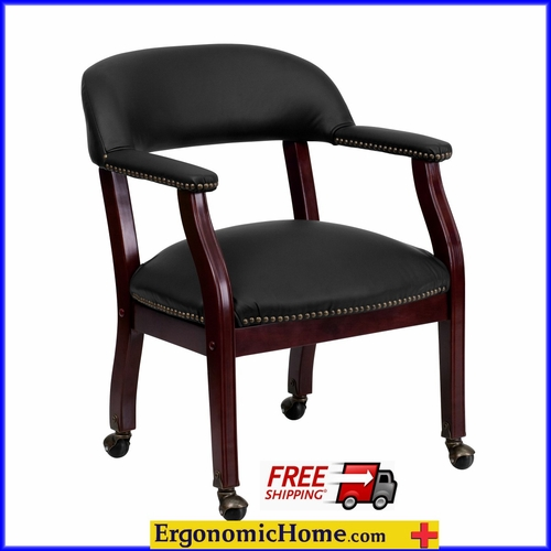 Ergonomic Home Black Top Grain Leather Conference Chair/Guest Chair with Casters EH-B-Z100-LF-0005-BK-LEA-GG   VIDEO BELOW.