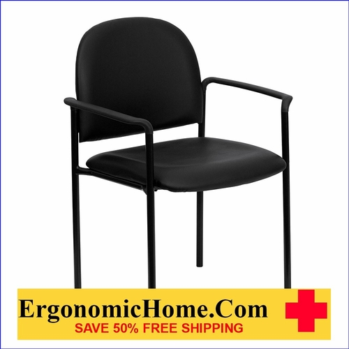 Ergonomic Home Black Vinyl Comfortable Stackable Steel Side Chair with Arms EH-BT-516-1-VINYL-GG <b><font color=green>50% Off Read More Below...</font></b>