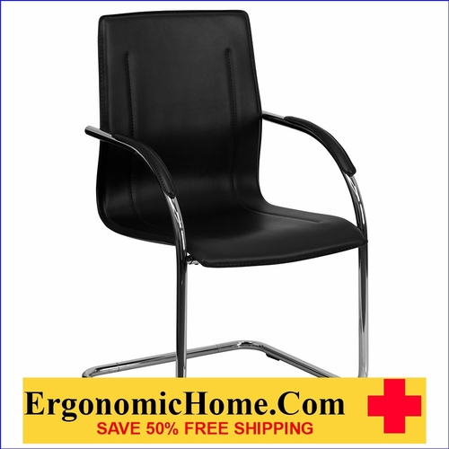 Ergonomic Home Black Vinyl Side Chair with Chrome Sled Base EH-BT-509-BK-GG <b><font color=green>50% Off Read More Below...</font></b>