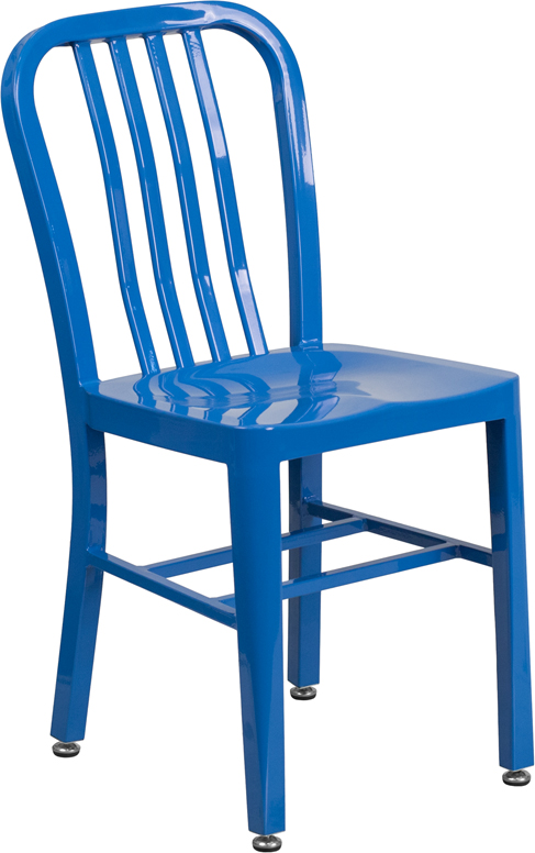 ERGONOMIC HOME Blue Metal Indoor-Outdoor Chair