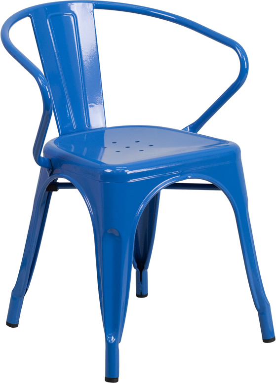 ERGONOMIC HOME Blue Metal Indoor-Outdoor Chair with Arms
