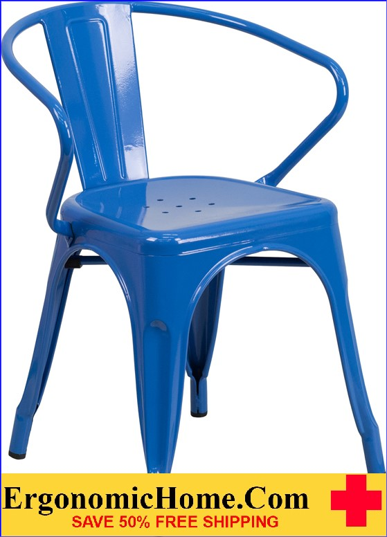 ERGONOMIC HOME Blue Metal Indoor-Outdoor Chair with Arms  | <b><font color=green>50% Off Read More Below...</font></b>