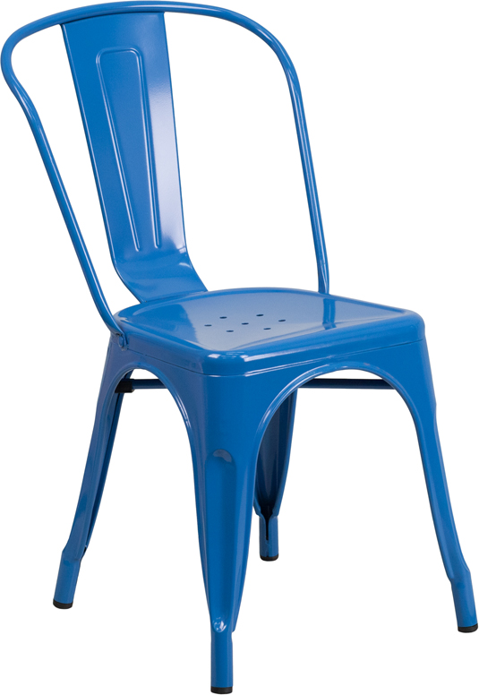 ERGONOMIC HOME Blue Metal Indoor-Outdoor Stackable Chair