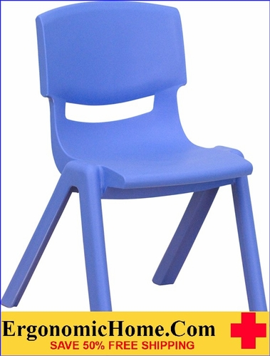 Ergonomic Home Blue Plastic Stackable School Chair with 12'' Seat Height EH-YU-YCX-001-BLUE-GG <b><font color=green>50% Off Read More Below...</font></b>
