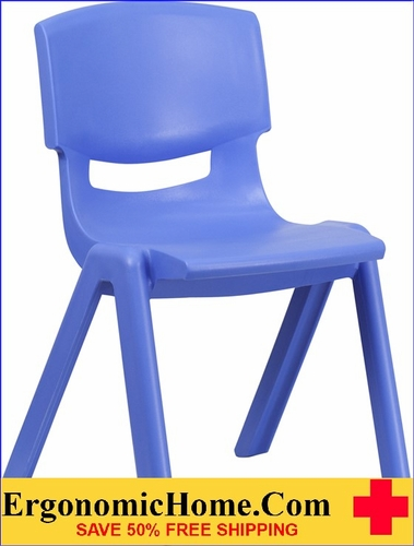 Ergonomic Home Blue Plastic Stackable School Chair with 15.5'' Seat Height EH-YU-YCX-005-BLUE-GG <b><font color=green>50% Off Read More Below...</font></b></font></b>