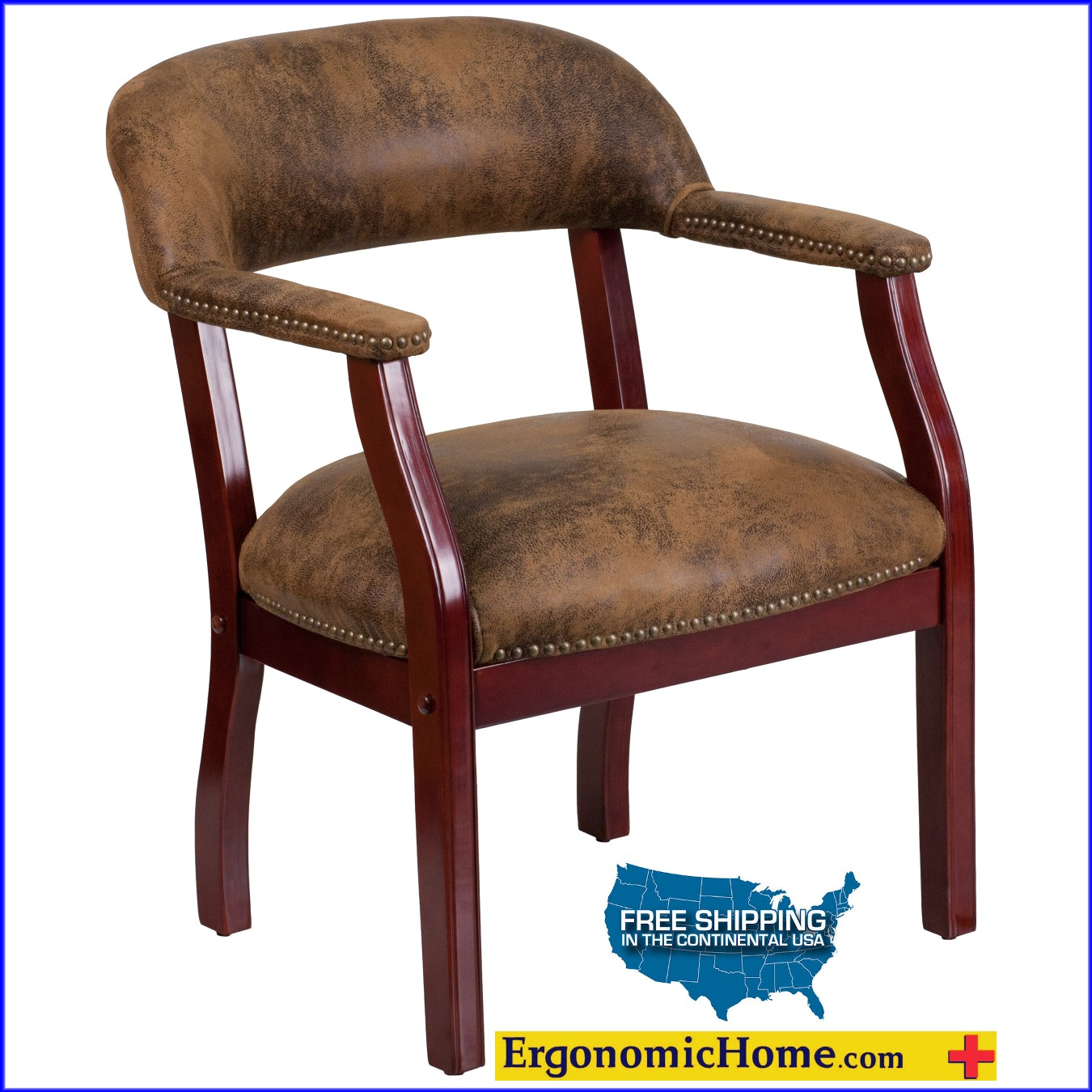 Ergonomic Home Bomber Jacket Brown Luxurious Conference Chair / Guest Chair EH-B-Z105-BRN-GG   VIDEO BELOW.