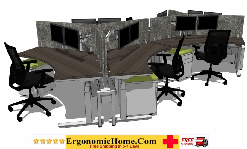 ERGONOMIC HOME BOOST STANDING COMPUTER DESK POD OF 6 INCLUDES CHAIRS, PEDS, DUAL MONITOR ARMS, VERTICAL DIVIDERS. FREE SHIPPING 5-7 BIZ DAYS+ASSEMBLY INCLUDED! READ MORE BELOW...