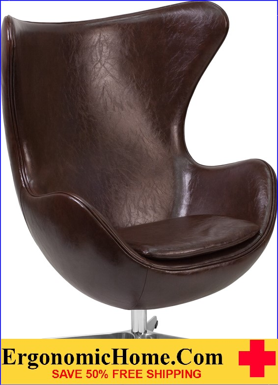 Ergonomic Home Brown Leather Egg Chair with Tilt-Lock Mechanism <b><font color=green>50% Off Read More Below...</font></b>
