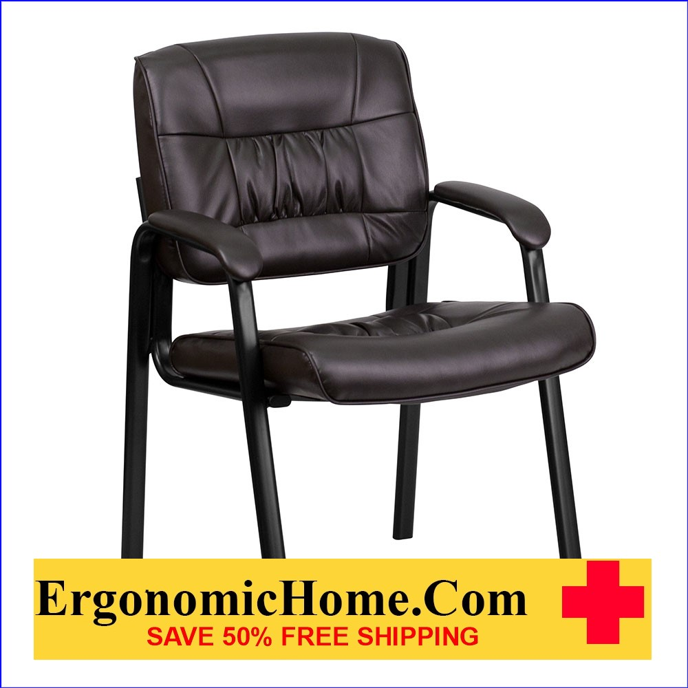 Ergonomic Home Brown Leather Executive Side Chair with Black Frame Finish EH-BT-1404-BN-GG .