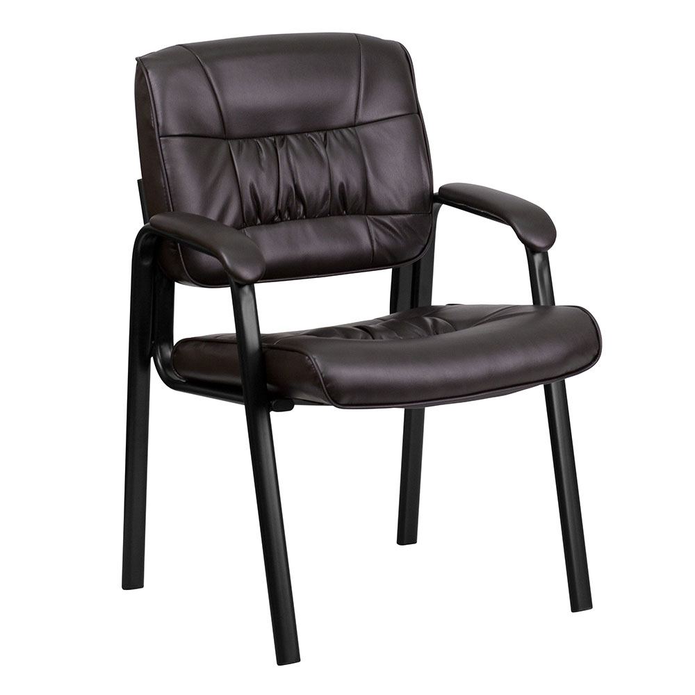 Ergonomic Home Brown Leather Executive Side Chair with Black Frame Finish EH-BT-1404-BN-GG <b><font color=green>50% Off Read More Below...</font></b>
