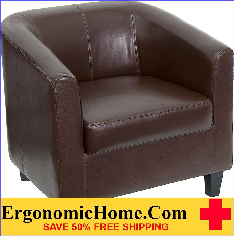 Ergonomic Home Brown Leather Office Guest Chair / Reception Chair <b><font color=green>50% Off Read More Below...</font></b>